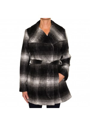 Braetan Womens Belted Gradient Plaid Wool Coat