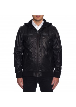 Buffalo Zip Front Faux Leather Jacket with Hood