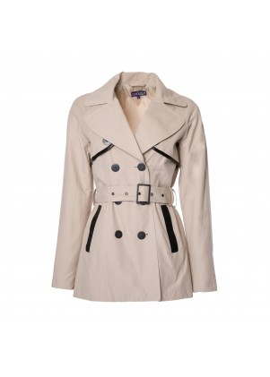 Trench Coat with Leather Trim
