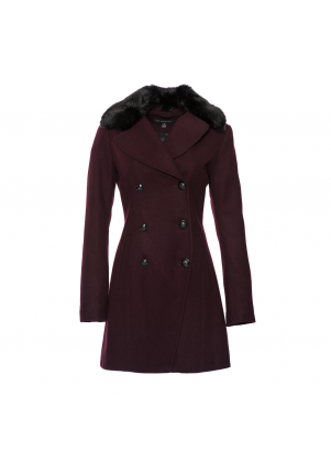 Cutaway Wool Peacoat Coat with Faux Fur Collar