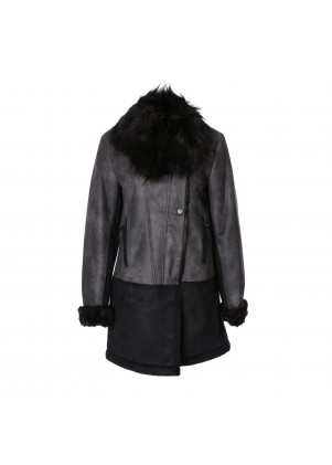 T. Tahari Faux-Fur-Trim Colorblocked Faux-Shearling Coat