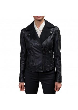Buffalo Womens Black Leather And Wool Moto Jacket