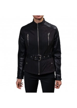Belted Soft Shell Jacket With Faux Leather Sleeves