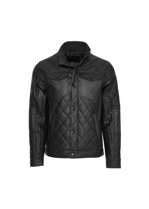 Perry Ellis Leather Jacket with Snap Closure
