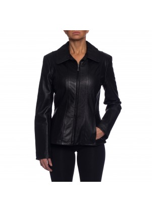 Nautica Leather Bomber Jacket with Vertical Lines