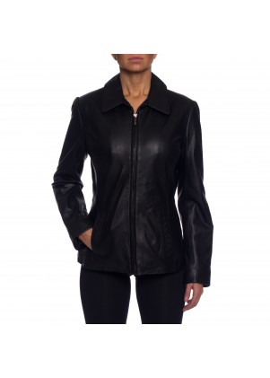 Nautica Leather Bomber Jacket with Curved Lines