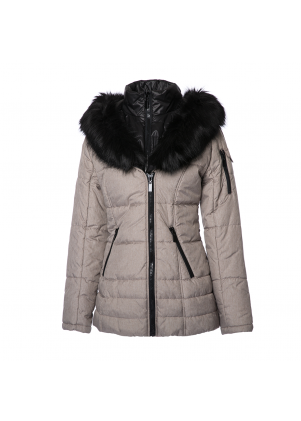 Asymmetrical Jacket with Faux Fur Trim