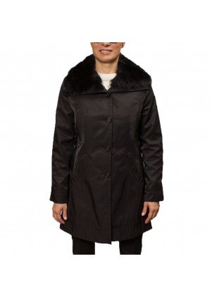 Women's Wool Coat With Real Fur Trim