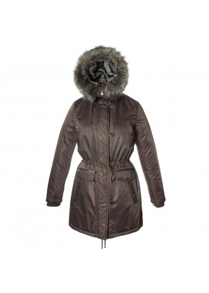 Laundry By Design Womens Hooded Zip Front Jacket With Faux Fur Trim