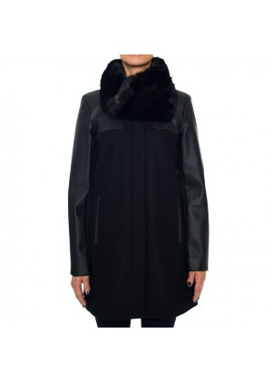 Laundry By Shelli Segal Faux Leather Combo Felt Coat
