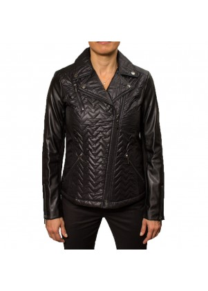 Laundry Womens Chevron Quilted Motorcycle Jacket