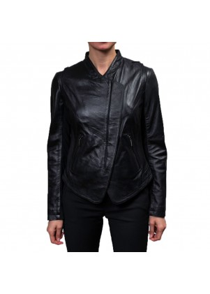 Laundry Black Leather Zip Front Jacket