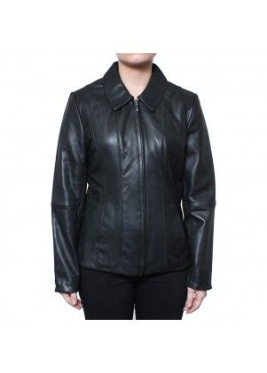 Zip Front Genuine Leather Jacket w/ Detailed Stitching