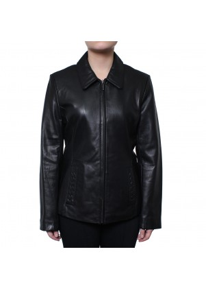 Zip Front Genuine Leather Jacket