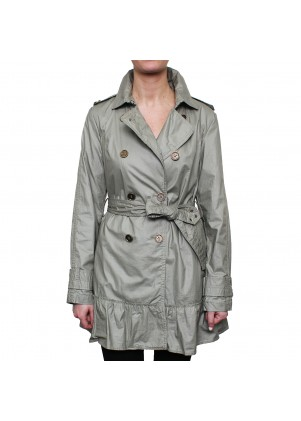 Buffalo Waxed Cotton Belted Trench With Ruffle Detail