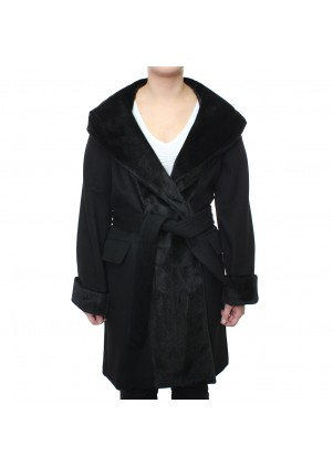 Faux Fur Trim Wool Wrap With Hood