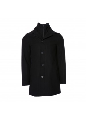 Wool-Blend Knit Collar Jacket